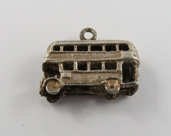 English Double Decker Bus Sterling Silver Charm or Pendant.