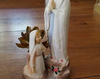 Vintage Our Lady of Lourdes Statue, St. Bernadette, Ceramic, Sanmyro, Japan
