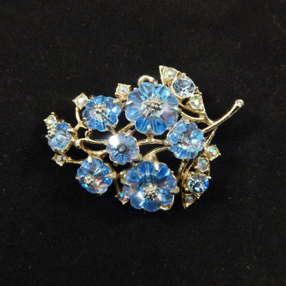 Vintage Capri Blue Margarita Flower and Rhinestone Brooch
