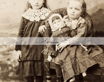 Printable Art Download - Little Girls with Doll Hand Tinted Antique Photograph - Paper Crafts Altered Art Scrapbook - Vintage Photography