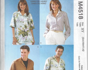 McCall's 4518 Sewing Pattern for Misses', Men's and Teen Boy's Shirts, Sizes S M L, Uncut