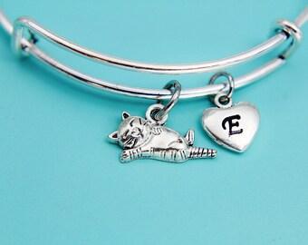 Silver Cat Charm Bangles, Silver Cat Bangles, Cat Bangles, Silver Bangle, Personalized Bangles, Silver Bangles Cat, Bangles Cat, Gifts Ideas