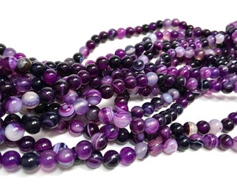 6mm Smooth Purple Striped/Banded Agate Gemstones Full Strand (63 Round beads)
