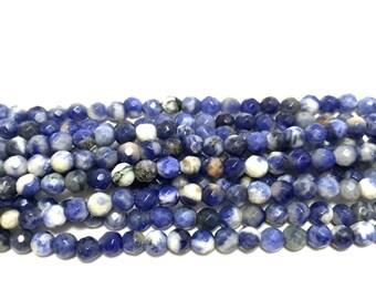 "4mm Faceted Sodalite Genuine Gemstones Full 15.7"" Strand (94 Round Beads)"