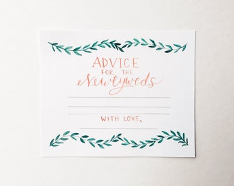 Wedding Advice Cards //PRINTABLE // Instant Download // Green + Red // Wedding Decor // Hand Painted // Vines // Wedding Paper