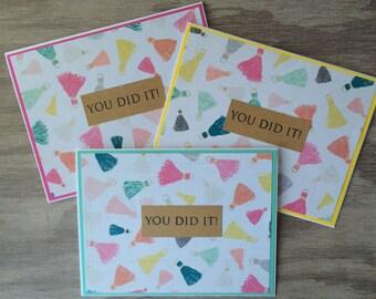 Graduation Card Set, Tassel Cards, You Did It, Blank Graduation Stationary, Colorful Graduation Cards, Happy Graduation, Grad Card for Her