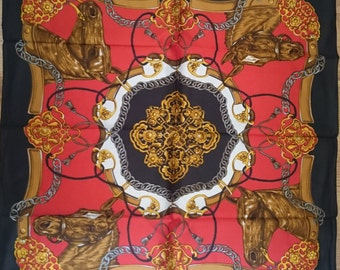 Vintage Italian Large Square Scarf - Black Gold Red and White Equestrian Design in Satin - Unused and Perfect From 1970s Stock