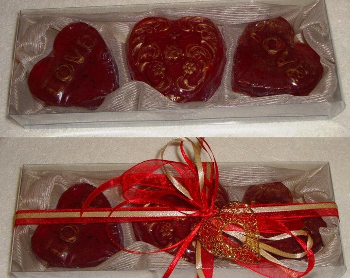 Cream Ecru Valentine Gift Pack, Heart Red Luxury Glycerin Scented Soap, Royalty Soap, Valentine Gift, Feast Gift, Birthday Gift, Party Gift