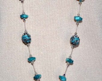 Handmade Necklace, Handknotted Necklace, Teal Knotted Necklace, Teal Bead Necklace, Long Beaded Necklace, Extra Long Beads, Teal Nuggets