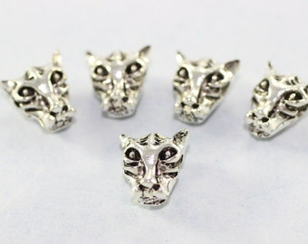 5 Pcs Antique Silver Tiger Head Beads, 11mm x 12mm Animal Charms, Tiger Spacer Beads KFA 020