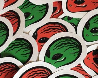 Watermelon Alien Vinyl Sticker