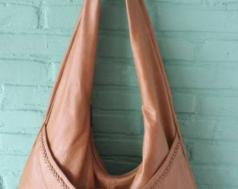 Large leather slouch bag, tan leather shoulder bag, boho shoulder bag, soft leather handbag