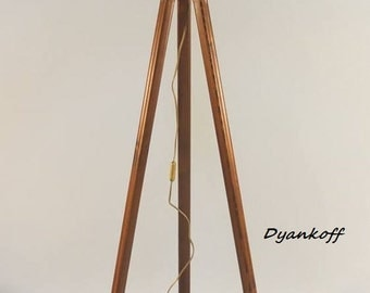 Handmade Tripod Floor lamp with wooden stand and drum lampshade, different colors of the lampshade, model Zana, made from wood, fabric,metal