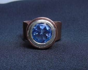 Band ring made of copper and Silver 925 with Blue Topaz purple. Steampunk style
