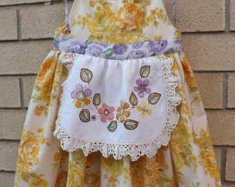 Reduced - Upcycled girls floral vintage sheeting sundress – size 2