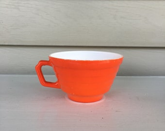 Vintage Hazel Atlas Orange - Platonite- Modertone - Coffee Cup - Tea Cup - 1940s