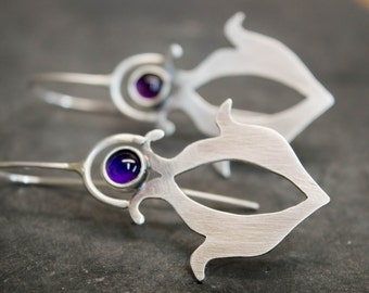 Sterling silver earrings, Tribal earrings, Artisan jewelry, Sterling silver boho gypsy earrings, Contemporary earrings, Metalsmith jewelry
