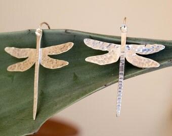 Dragonfly Earrings,Insect earrings, Sterling Silver Dragonfly Earrings, Dragonfly jewelry, Sterling silver dangle earrings, Artisan earrings