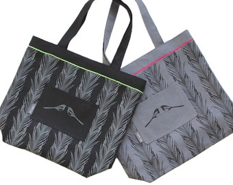 Linen tote bag, magpie pattern