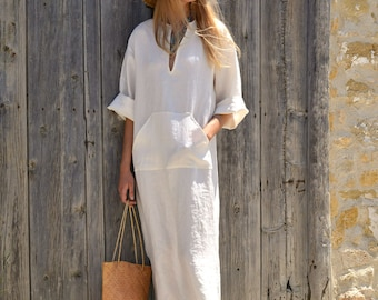 JEFF caftan. Chalk white color. Women's long tunic. Soft light linen.