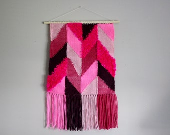 Weaving - Bright Pink Woven Wall Hanging