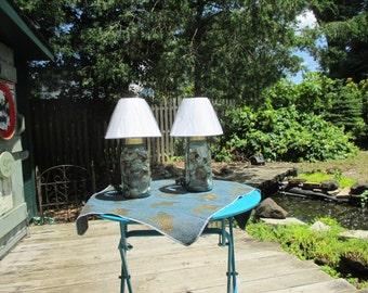 SALE Handmade Antique Mason Jar Lamps-With Shells-Pair