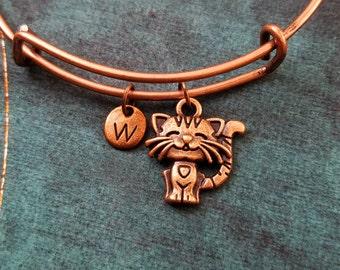 Cat Bangle Bracelet Copper Kitty Cat Bracelet Animal Bracelet Expandable Bangle Stackable Bangle Adjustable Bangle Personalized Jewelry