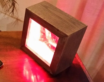 Multicolor led light stained oak, modern tile glass block recovery, recycling