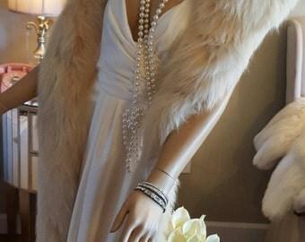 Luxury Vintage Fox Fur Stole - Fur Fling - Fox Fur Wrap - Shawl - Blush Peach Ivory Real Fur Boa- Bride - Wedding - Great Gatsby - Marilyn