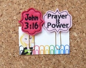 Felt Planner Clip   Christian Bookmark   Bible Refrigerator Magnet   John 3:16   Prayer is Power   Planner Accessories   815 814