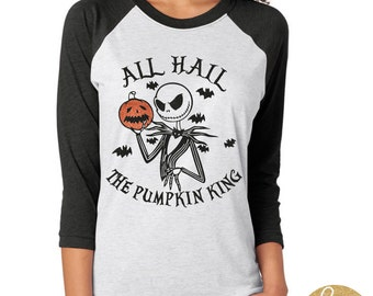 Nightmare Before Christmas Shirt - Jack Skellington All Hail The Pumpkin King Glitter Shirt