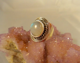 RAINBOW MOONSTONE RING Size 7 Sterling Silver