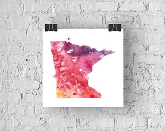 Minnesota Watercolor Map - Giclée Print of Hand Painted Original Art - 5 Colors to Choose From