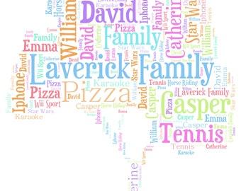 Personalised Word Art / Word Cloud - Family Tree - Digital JPEG