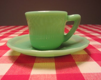 CLP - Jadite Green Glass Expresso Cup and Saucer decorated with Ribs - Made in England - 1950s