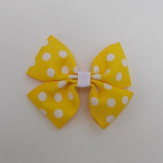 Yellow Polka Dot Hairbow