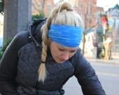 Blue Stripe   Yoga Headband   Workout Headband   Fitness Headband   Running Headband   Wide Headband   Pilates Headband   Barre Headband