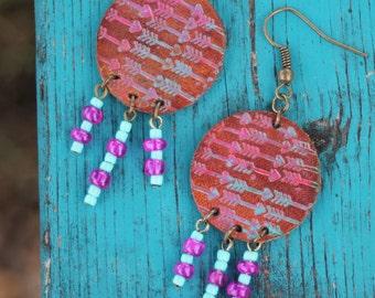 Leather Arrow Earrings, Southwestern, Western, Gypsy, Boho Jewelry, Handmade Leather Earrings