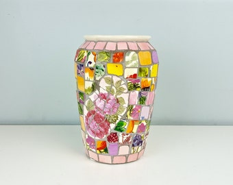 Large Mosaic Tile Vase with Pink Colorful Floral Pattern, Broken Tile Mosaic Vase, Mosaic Art Work, Shabby Chic Decor, Vintage Home Decor