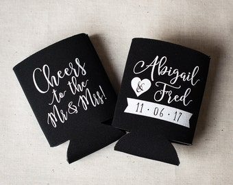 Cheers to the Mr and Mrs - Wedding Can Cooler #28 - Custom -Bridal Wedding Favors, Beverage Insulators, Beer Huggers
