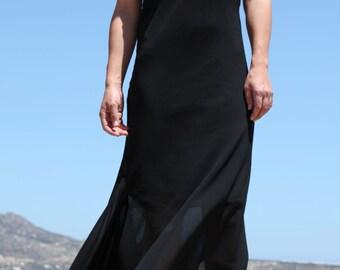 Vintage Rebecca Blu black asymmetric chiffon dress.size m