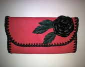 Unique womens wallet, Leather wallet, Gifts for women, Gift for her, Rose women wallet, Handmade wallet, Made in italy.