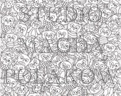 Adult Colouring Page. Ugly Owls. Cute creatures. Owl colouring. A4