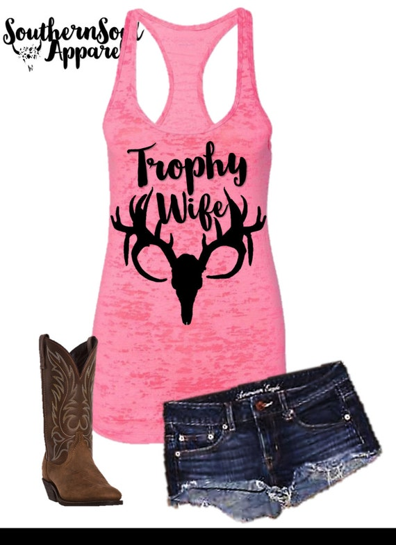 Trophy Wife Deer Head, Deer Silhouette, Burnout Tank Top, Country Tank Top, Southern Tank Top, Country Shirt, Country Concert, Country Music