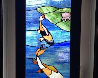 Beach Mountain Koi Fish Stained Glass Custom Door