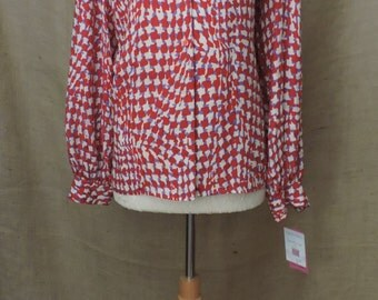 2584 - New Listing - Vintage CIAOSPORT Blouse Size 14 Red White Geometric Long Sleeve 100% Silk 1980s