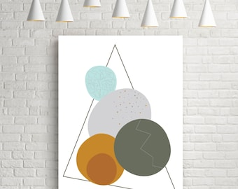 Geometric print, abstract art, geometric poster, mid century modern, watercolor art, modern art print, scandinavian print, wall art, cercles