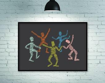 Wall art, large wall art, dance print, dance art, party poster, room decor, abstract art prints, faces poster, original art gift print art