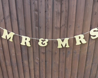 Mr & Mrs Rustic Wedding Bunting in Gold ****Now Half Price****One Only***
