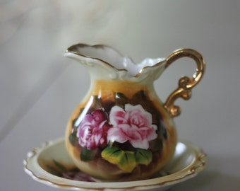 Enesco E2359 Small Floral pitcher and Bowl Set
